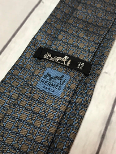 Hermès Grey/Blue Necktie