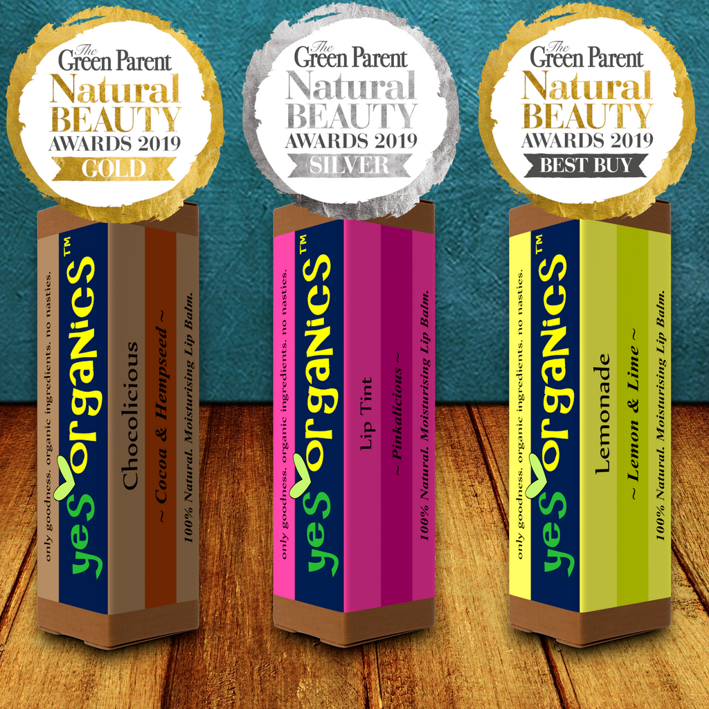 Yes Organics WINS Best Lip Balm Award in Green Parent Natural Beauty Awards 2019