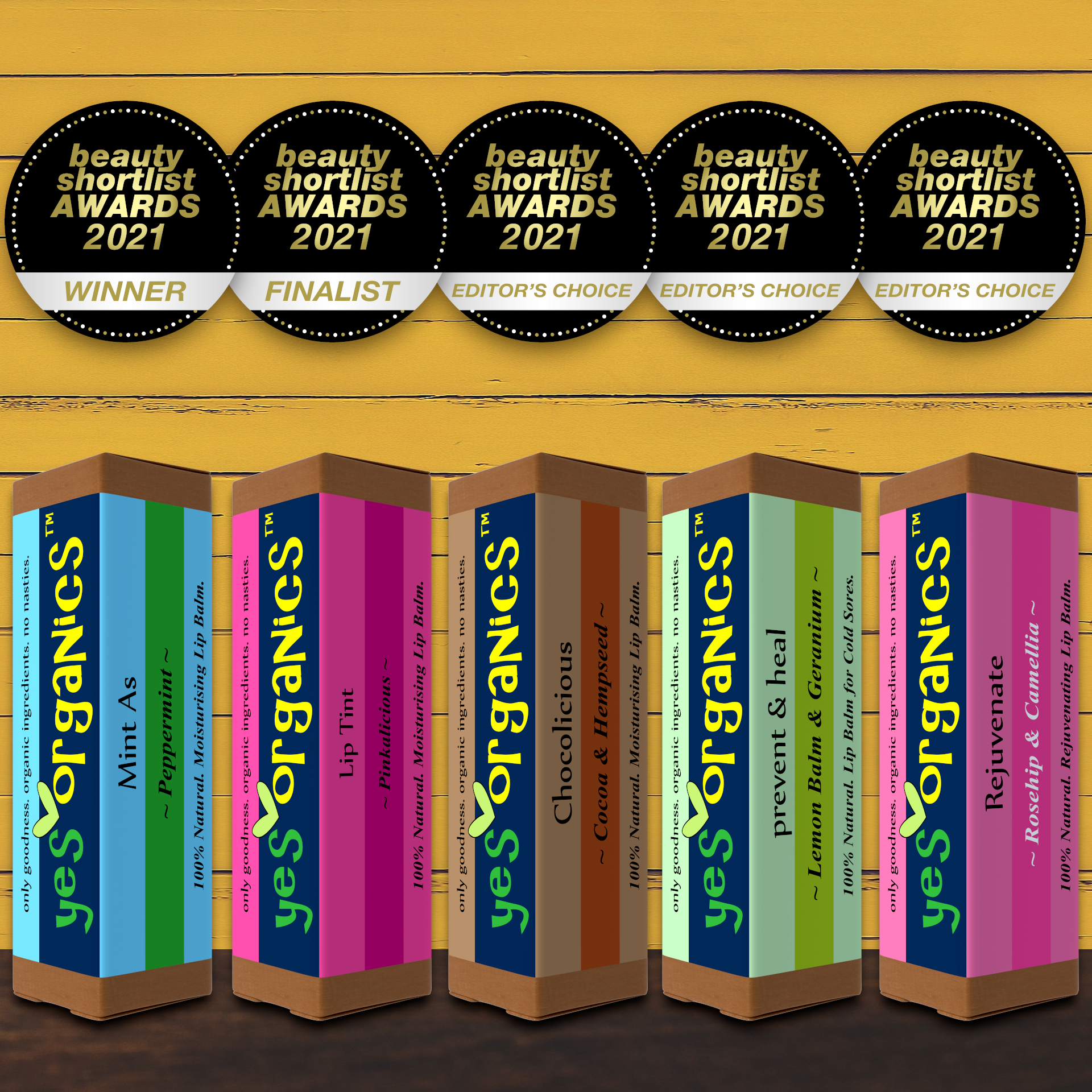 Yes Organics Wins Best Lip Balm & Best Lip Tint Awards in The Beauty Shortlist Awards 2021