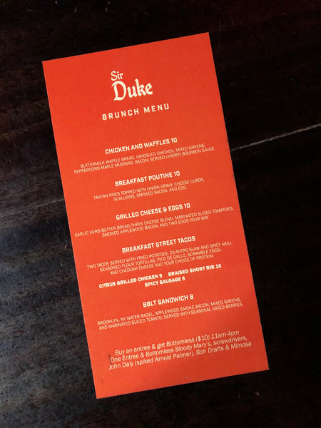 Sir Duke Bar Brunch Menu