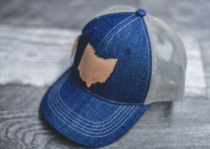 Leather Ohio Patch Hat || Denim Mesh