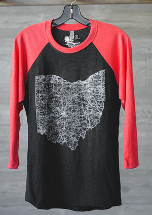 Ohio Map Baseball Tee