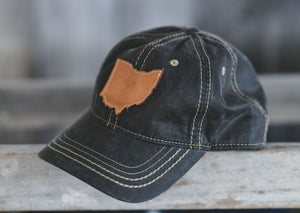 Leather Ohio Patch Hat || Oiled Leather