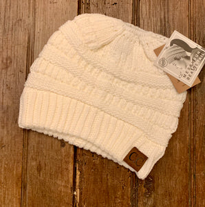 Cable Knit Tail Beanie - Wild Plains