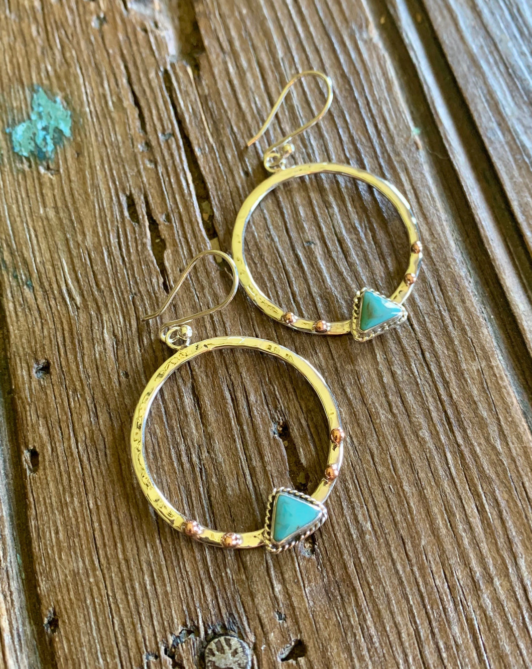 Mini Hoops with Copper and Turquoise