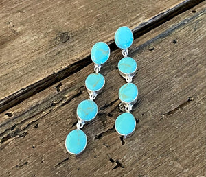 Four Stone Turquoise Earrings