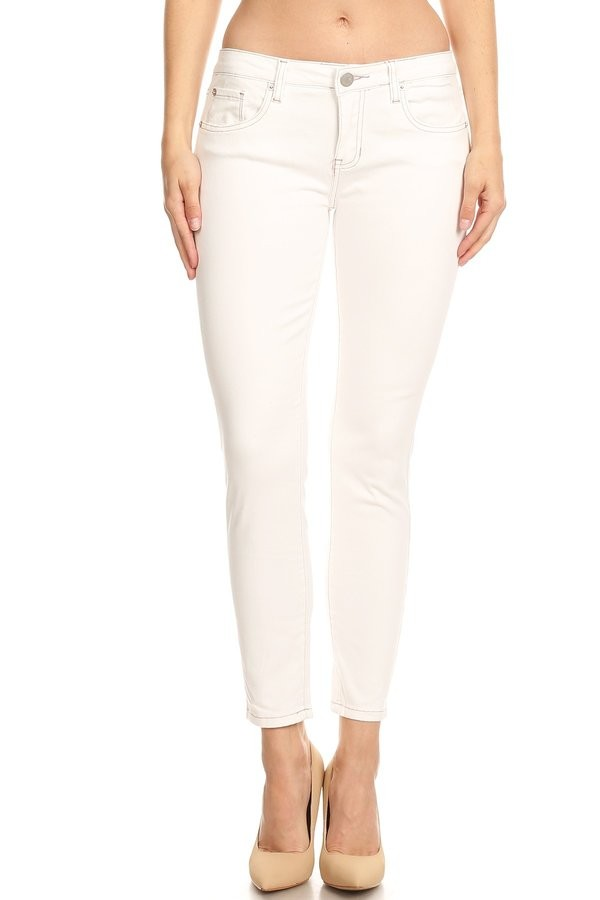 Mid Rise White Skinny Jean