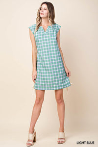 Light Blue Plaid Dress