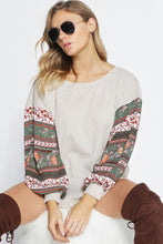 Waffle knit with boho print sleeves