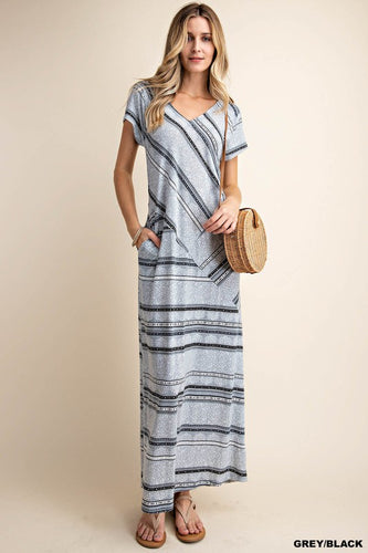 Grey Stripe Maxi Dress
