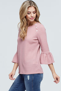Rose Top with Button Detail