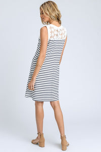 Striped Dress with Crochet Trim