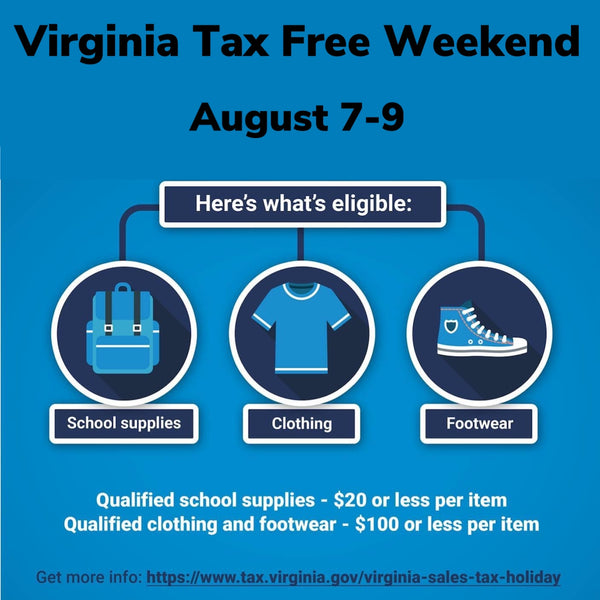 Shop Tax Free during Virginia's sales tax holiday
