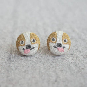 Corgi Fabric Button Earrings