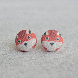Handmade Red Fox Fabric Button Earrings
