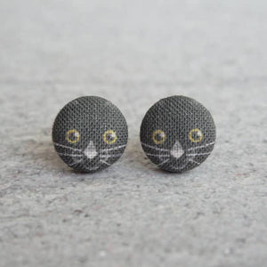 Black Cat Fabric Button Earrings