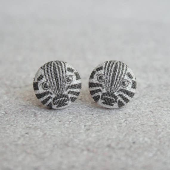 Zebra Fabric Button Earrings