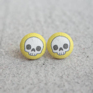 Adorable Skulls in Yellow Fabric Button Earrings