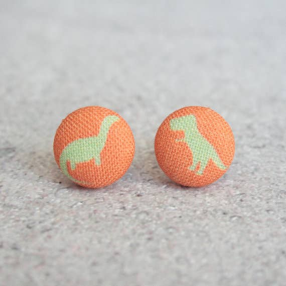 Dinosaurs Fabric Button Earrings