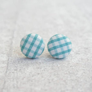 Blue Gingham Fabric Button Earrings
