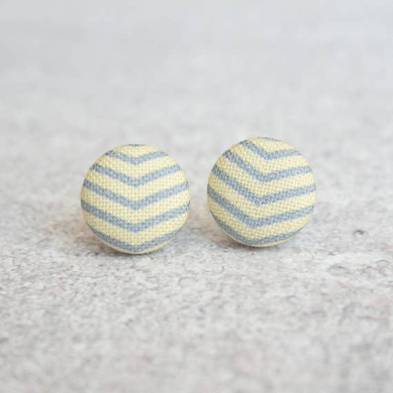 Yellow and Gray Chevron Fabric Button Earrings