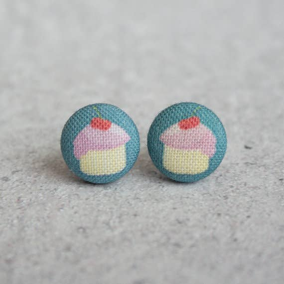 Cupcakes Fabric Button Earrings