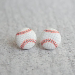 Baseball Fabric Button Earrings