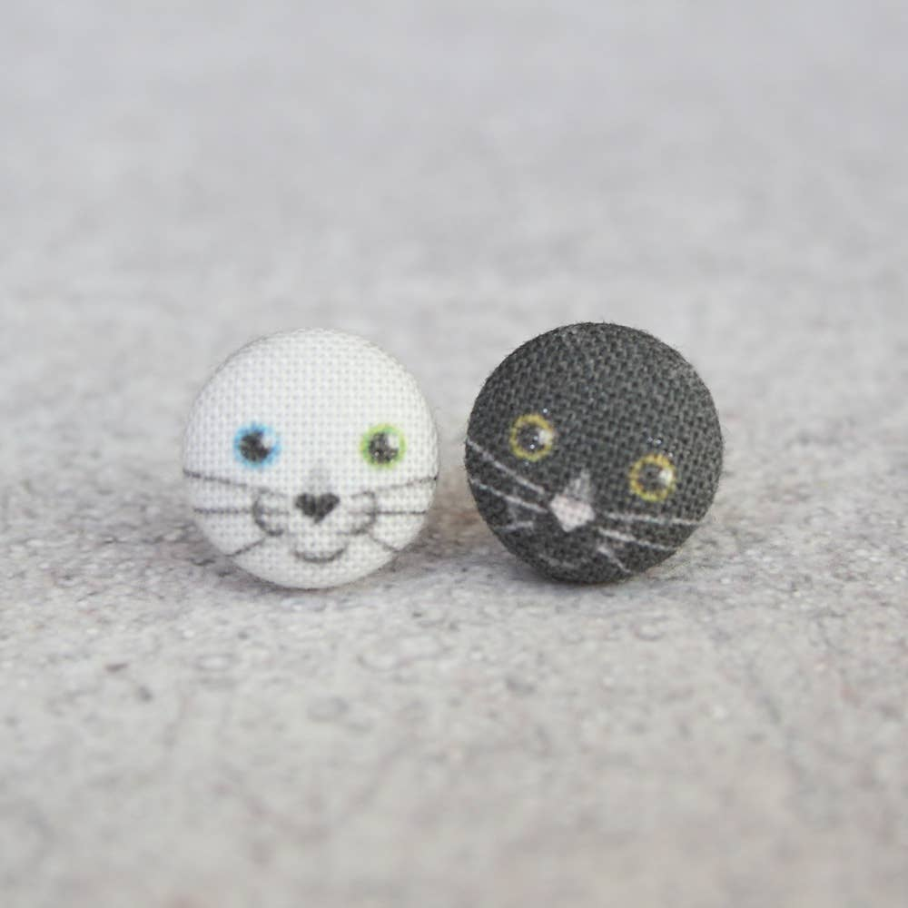 Black & White Kitten Fabric Button Earrings