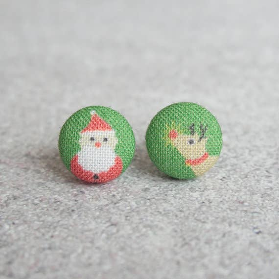 Santa and Rudolph Fabric Button Earrings