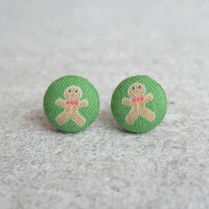 Gingerbread Men Fabric Button Earrings