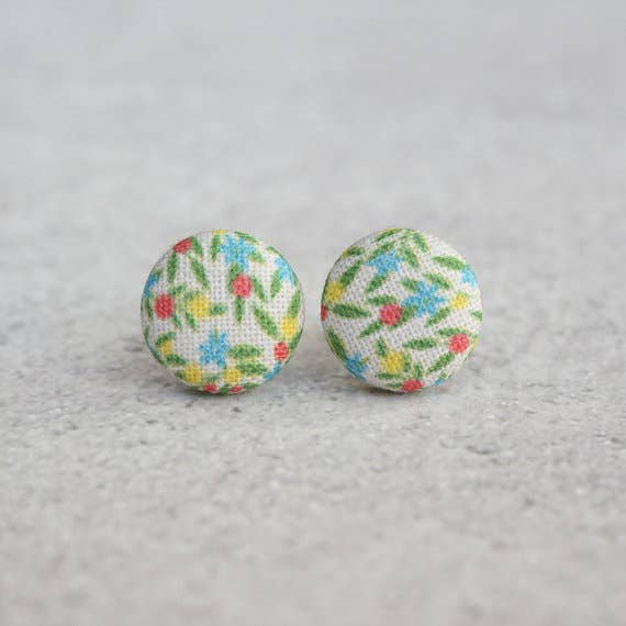 Calico Fabric Button Earrings