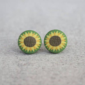 Sunflower Fabric Button Earrings