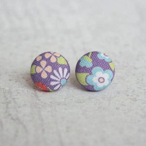 May Flowers Fabric Button Earrings
