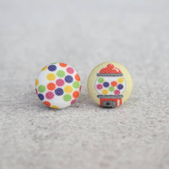 Bubble Gum Fabric Button Earrings
