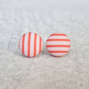 Pink and Red Stripes Fabric Button Earrings