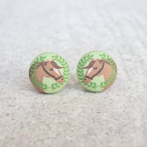 Horse Fabric Button Earrings