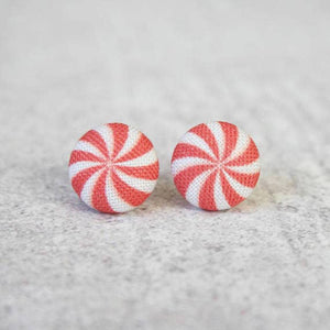 Peppermint Print Fabric Button Earrings