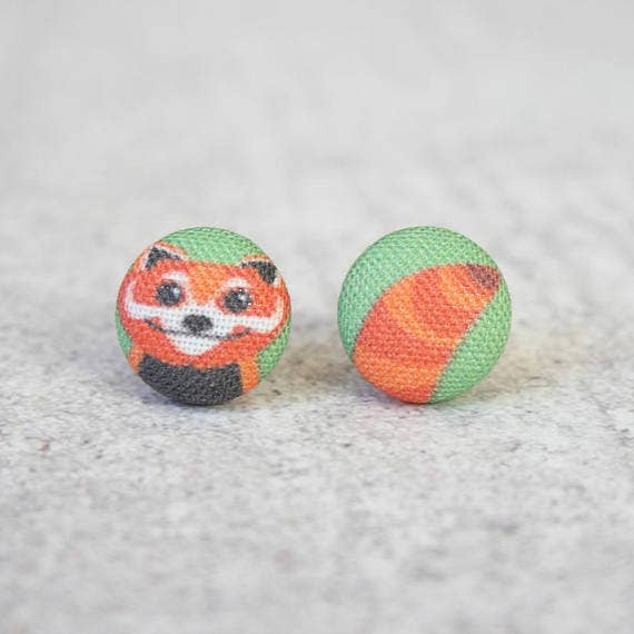Red Panda Fabric Button Earrings