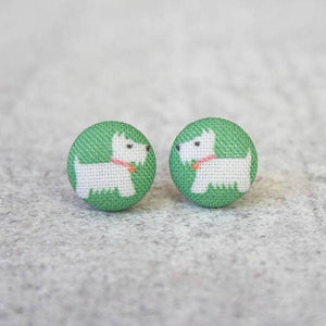 Westie Fabric Button Earrings