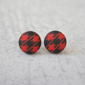 Red and Black Plaid Fabric Button Earrings