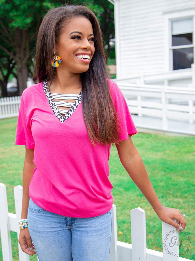 Pink Vividly Perfect Tee with Leopard Detail