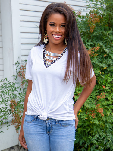 White Vividly Perfect Tee with Leopard Detail