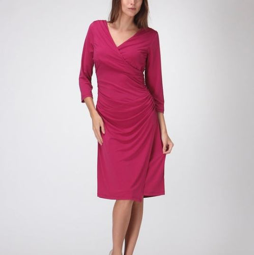 Bellino Magenta Faux Wrap Dress