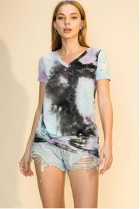 Black Multi-color Twist Hem Tie-Dye T-shirt