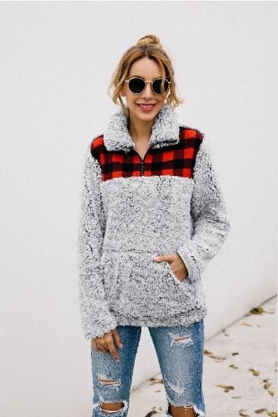 Gray Sherpa Fleece Red Buffalo Check