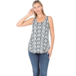 Grey Snakeskin Print Perfect Tank