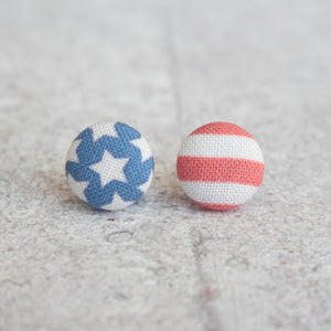 Handmade Americana fabric button earrings