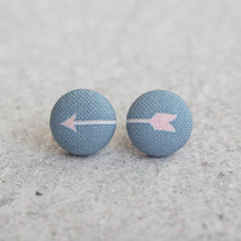 Handmade arrow fabric button earrings