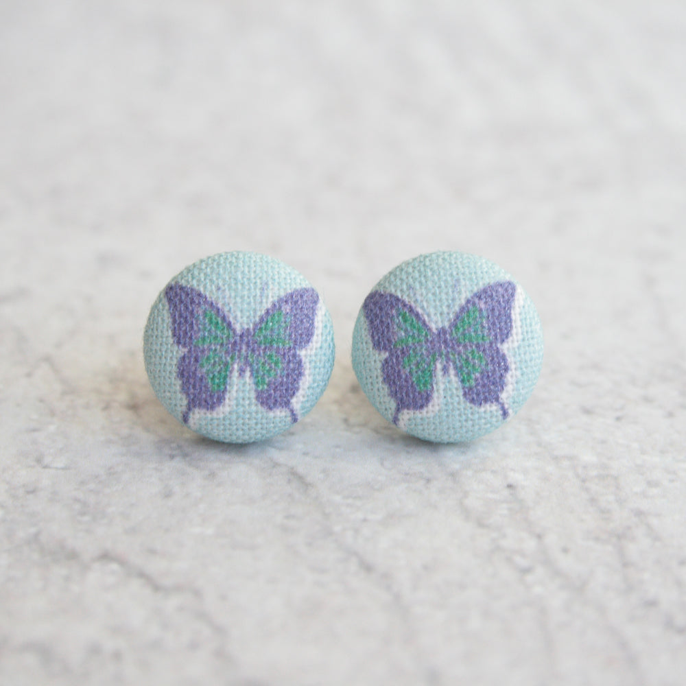 Handmade butterflies fabric button earrings