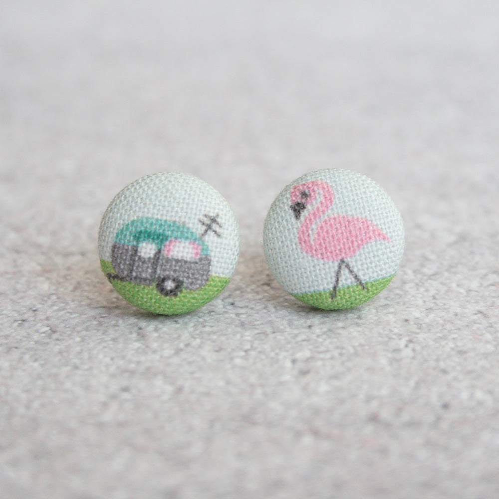 Handmade Flamingo with Chic Camper fabric Button Earrings